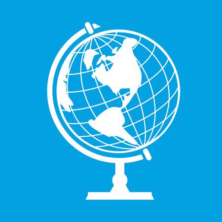 globe terrestre dessin: New globe terrestre isol� sur fond bleu