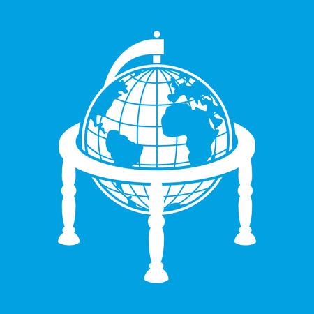 globe terrestre dessin: Meilleur globe terrestre isolé sur fond bleu Illustration