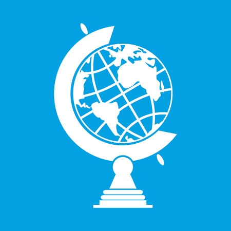 globe terrestre dessin: Belle globe terrestre isolé sur fond bleu