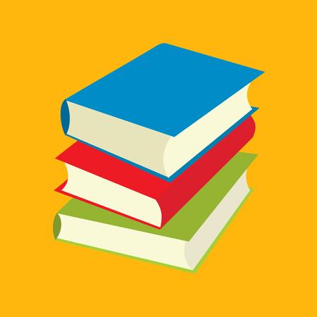 Drie boeken platte pictogrammen geïsoleerd op gele achtergrond Stock Illustratie