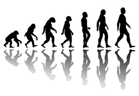 La evolución del hombre. El progreso de la silueta de desarrollo de crecimiento. Neanderthal y el mono, el homo-sapiens o homínido, primate o mono con la lanza arma o un palo o piedra Ilustración de vector