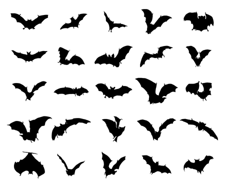 at bat: Bats silhouettes set isolated on a white background