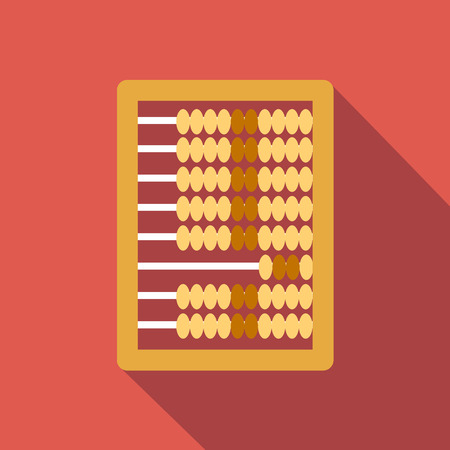 background graphic: Abacus calculation flat icon, colored image with long shadow on red background