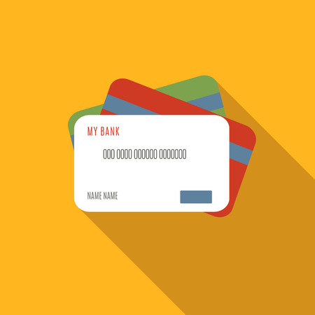 retail: Credit card flat icon, colored image with long shadow on yellow background Illustration