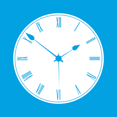 face  illustration: Clock white icon isolated on blue background