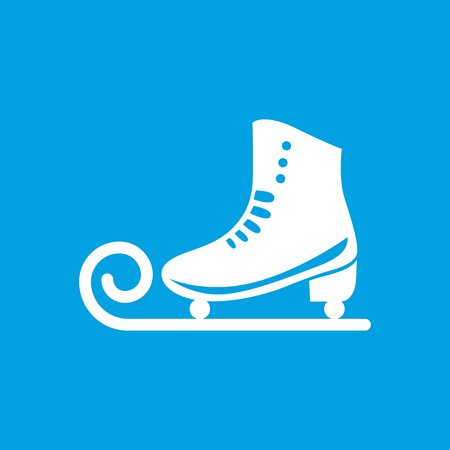 hockey rink: Ice skate white icon on blue background