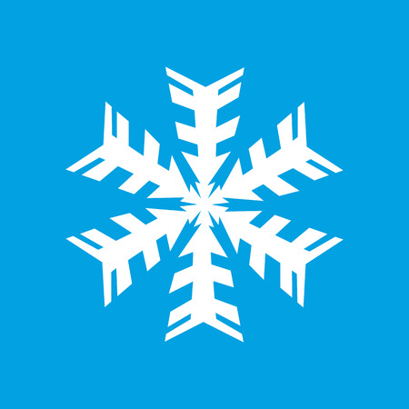 lightweight ornaments: White snowflake icon isolated on blue background