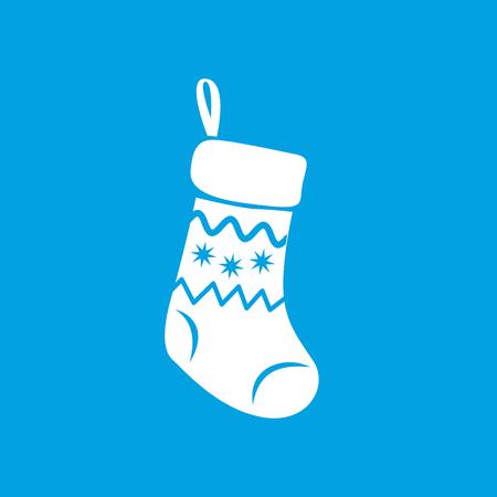 christmas sock: Christmas sock white icon on blue background