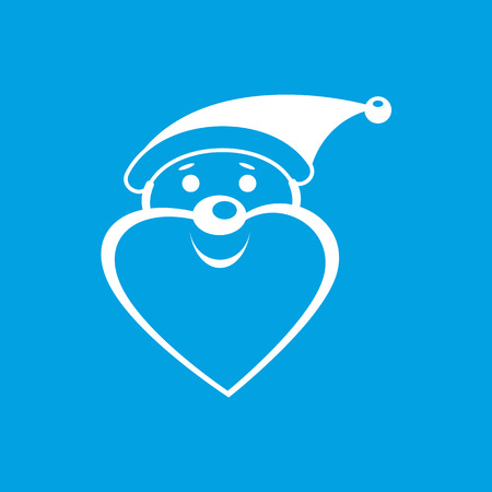 clause: White Santa Clause icon on blue background