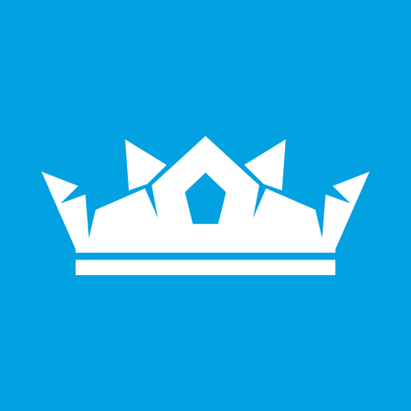 govern: Crown white icon isolated on blue background