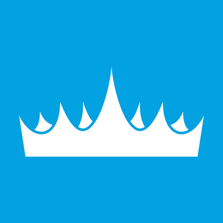 Crown white icon isolated on blue background