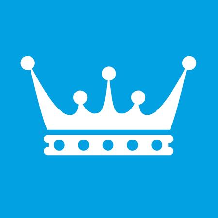 corona de reina: Icono blanco Corona aisladas sobre fondo azul
