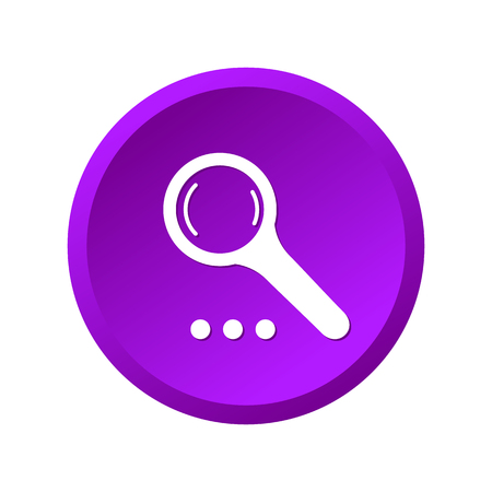 Magnify purple icon isolated on white background