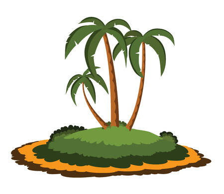 desert island: Desert island with palm trees isolated on white background Illustration