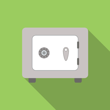 safety box: Safe flat icon, colored image with long shadow on green background