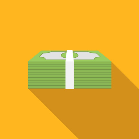 wealth: Money flat icon, colored image with long shadow on yellow background