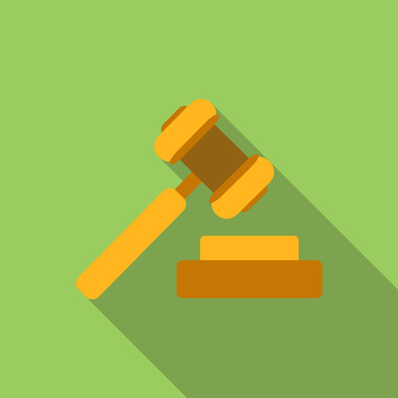 gavel: Hammer of justice flat icon, colored image with long shadow on green background