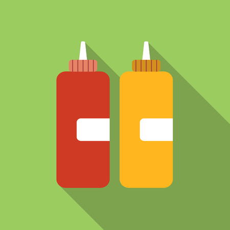 sauce bottle: Ketchup flat icon, colored image with long shadow on green background