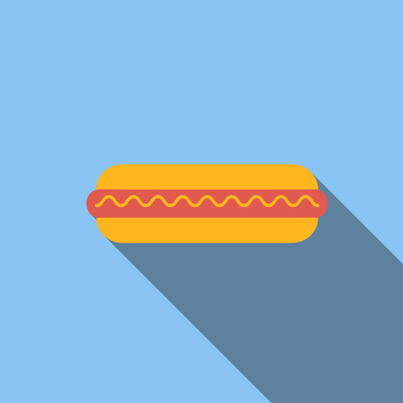 pointer dog: Hot dog flat icon, colored image with long shadow on blue background