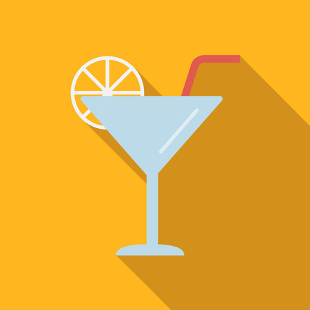 coctail: Coctail flat icon, colored image with long shadow on yellow background Illustration