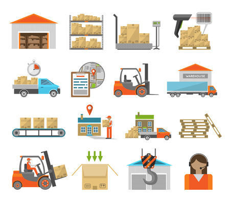 parcel delivery: Warehouse transportation and delivery icons flat set isolated on white background