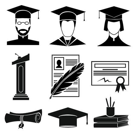 teaching education: Graduation icons set isolated on white background