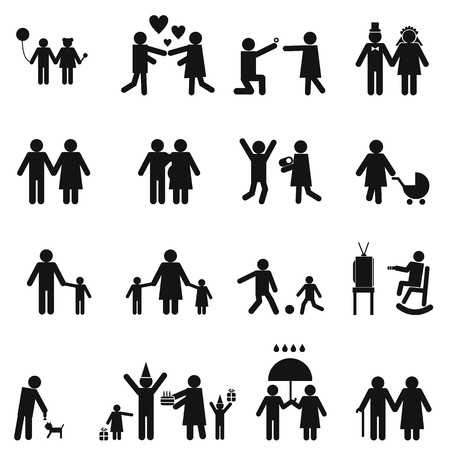 father and son holding hands: Family icons set. Story from childhood to old age Illustration