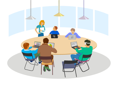 roundtable: Nice business meeting in flat style, brainstorming or coworking