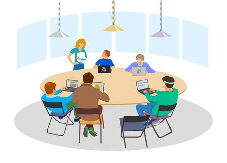 Nice business meeting in flat style, brainstorming or coworking