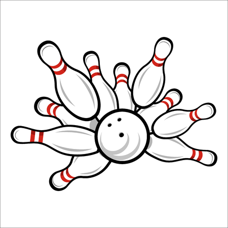 skittle: Unique bowling team or club emblem for web and mobile device