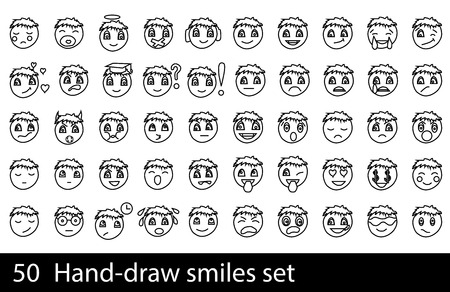 enraged: 50 Hand-drawn smile set isolated on a white background