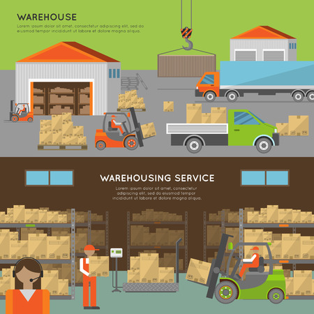warehouse: Warehouse transportation and delivery banners in flat style Illustration