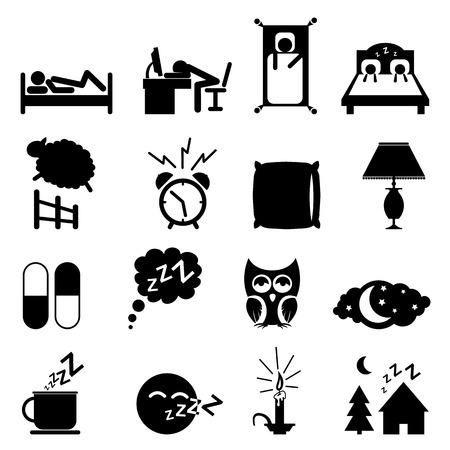 sleeping pills: Sleeping icons set isolated on white background