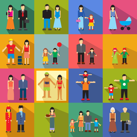age old: Family flat icons set. Story from childhood to old age Illustration