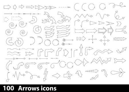 thunderclap: 100 hand-drawn arrows icons for web and mobile device