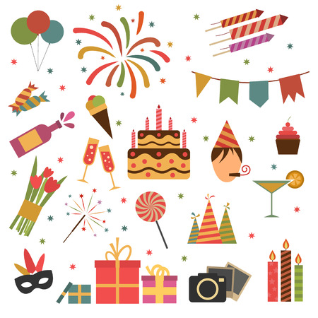 torta compleanno: Icone della festa di compleanno isolato su bianco