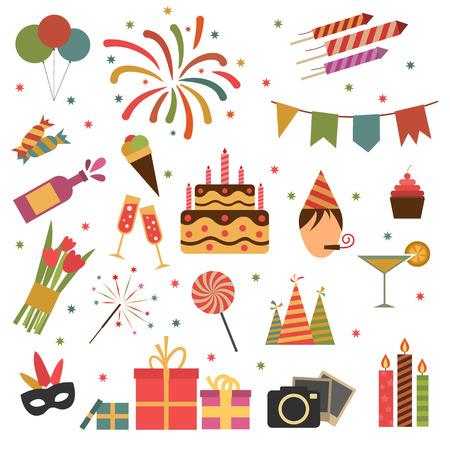 pastel de cumplea�os: Iconos fiesta de cumplea�os conjunto aislado en blanco