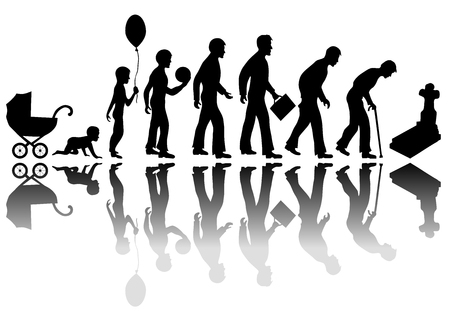 Time passing man concept. Illustration of life from birth to death Vectores