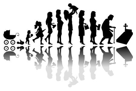 vida: El paso del tiempo Mujer concepto. Ilustración de la vida desde el nacimiento hasta la muerte Vectores