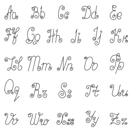 English alphabet icons. Abc symbols isolated on white background