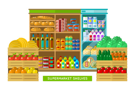 Shop, supermarket interior in flat isolated on white