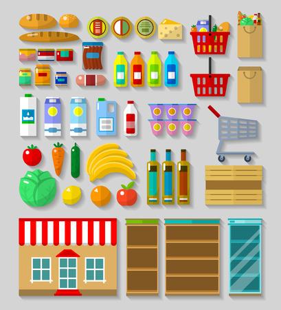 Einkaufsgeschäft, Supermarkt in Flach mit Schatten auf einem grauen Hintergrund Standard-Bild - 47327887