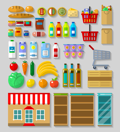 Shop, supermarket set in flat with shadows on a gray background