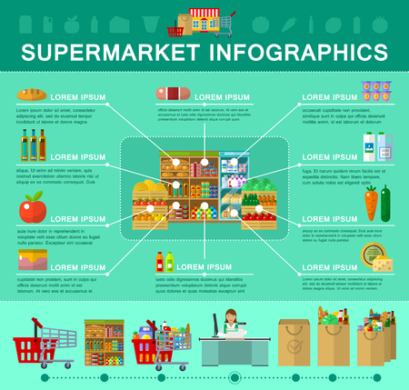 grocery shelves: Shop, supermarket infographic in flat style for weband mobile device