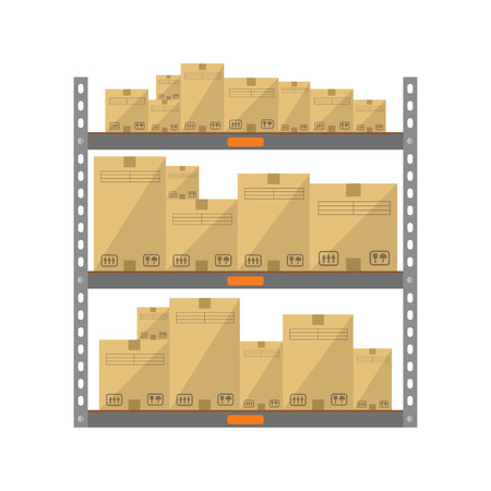 storage warehouse: Boxes on the shelves flat icon isolated on white background Illustration