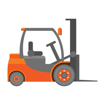 forklift truck: Forklift truck icon in flat isolated on white