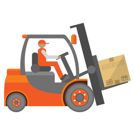 forklift: Forklift truck sign in flat isolated on white