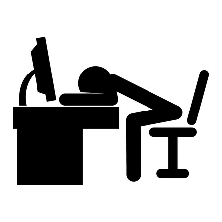 sleepiness: Stick man fell asleep at the table