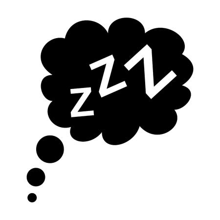 sleeping: Sleep black icon isolated on white background