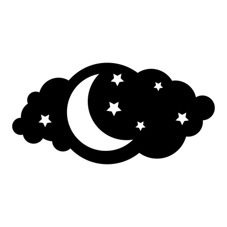 Moon and stars icon isolated on white background